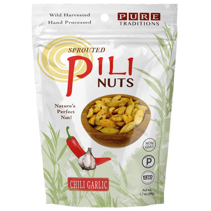Chili Garlic Pili Nuts - Pure Traditions - Certified Paleo, KETO Certified by the Paleo Foundation