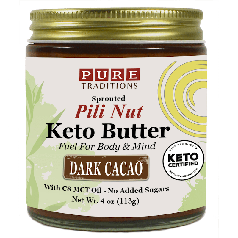 Sprouted Pili Nut Keto Butter - Dark Cacao - Pure Traditions - Certified Paleo, KETO Certified by the Paleo Foundation