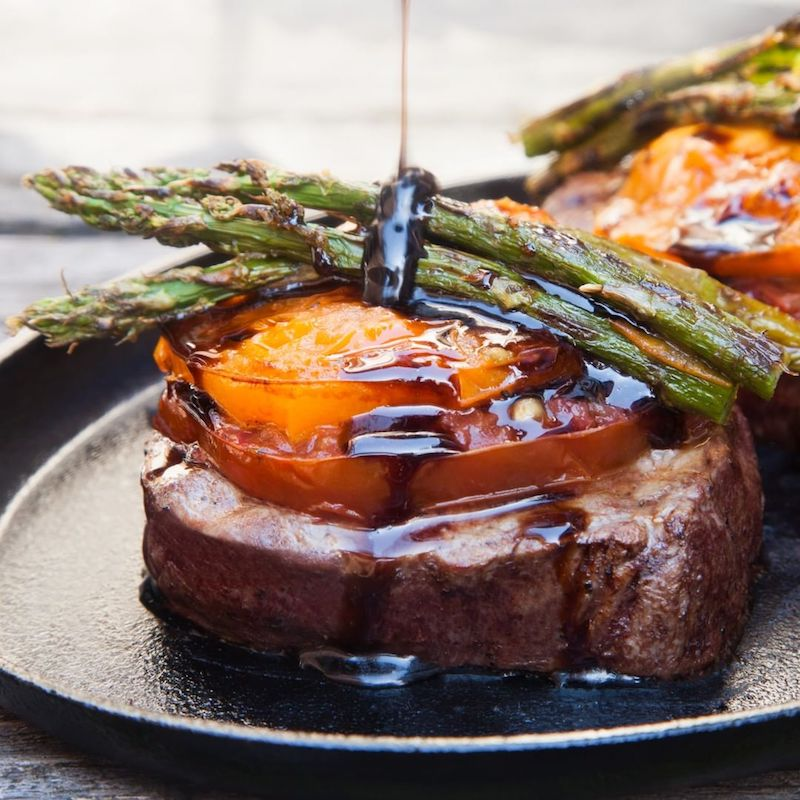 Grilled Balsamic Filet Mignon with Asparagus and Heirloom Tomatoes - Pre Brands - Certified Paleo, KETO Certified by the Paleo Foundation