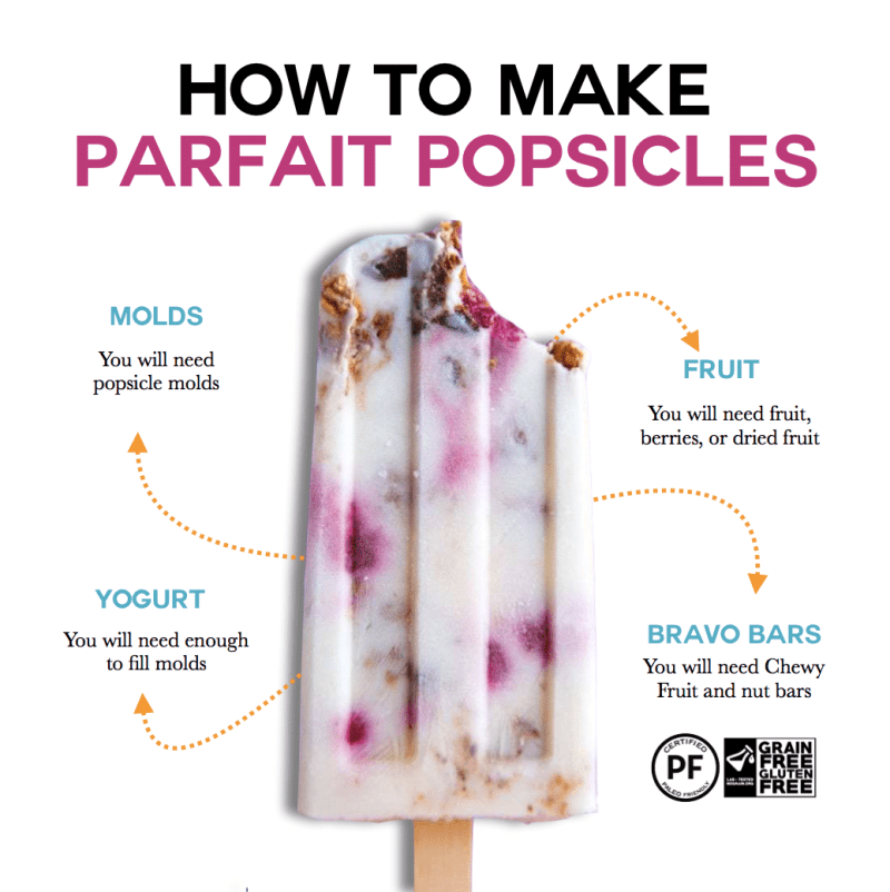 How to make parfait popsicles with Grain Free Gluten Free Certification Bravo Bars
