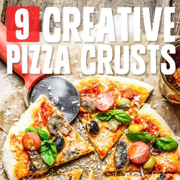 9 Creative Pizza Crusts- unique grain-free & low carb pizza crust recipes.