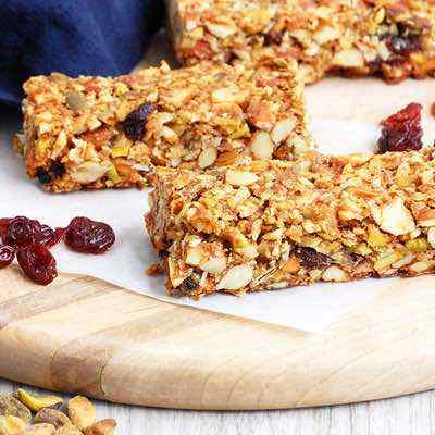 Crunchy Cherry Pistachio Paleo Granola Bars