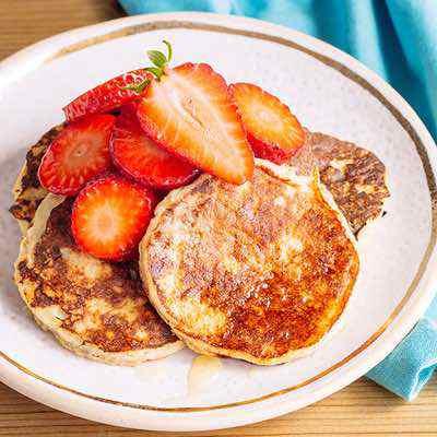 Paleo Banana Pancakes with Fresh Strawberries