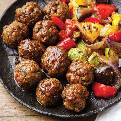 Teriyaki Paleo Meatballs with Roasted Japanese Vegetables