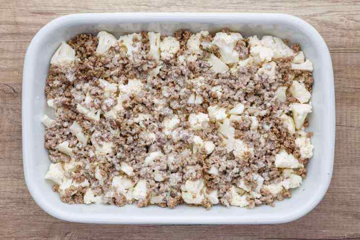 Loaded Cauliflower Ground Beef Casserole