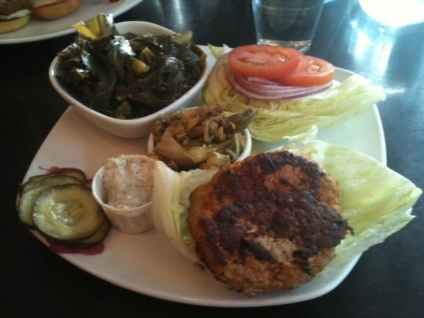 Turkey burger, kimchee and collards