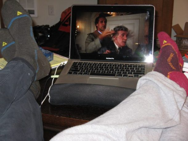 Really bad picture, but I found it amusing that Jesse and I both had Keen socks on with lululemon sweats, and our legs crossed on the table. We relaxed and watched Christmas Vacation, one of my favorite holiday movies.