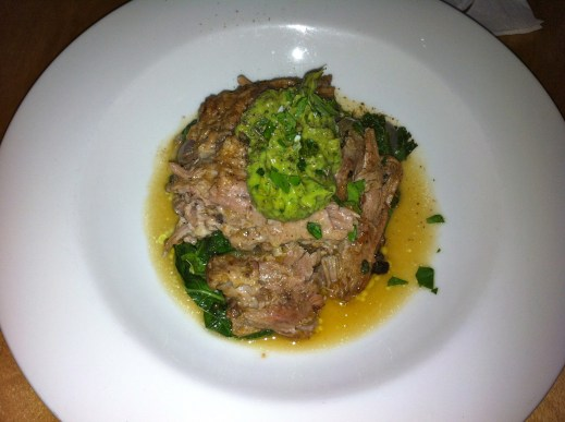 Pork shoulder braised with cinnamon and cumin, served with greens and avocado. It was supposed to come with black beans but I ordered it without and asked for extra greens instead. I forget the clever New Year's name this dish had.