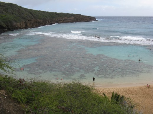 Hanauma Bay, where we snorkeled one rainy day. We saw some really cool fish too! I forgot out underwater camera at home, so there are no fish pics.