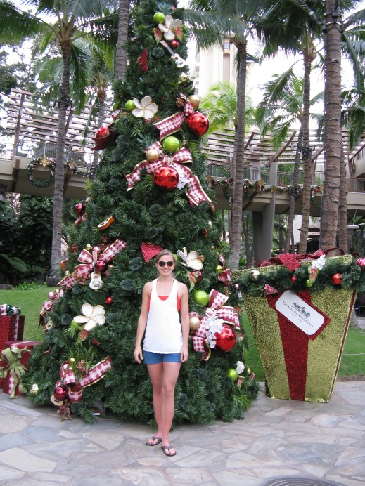 Christmas tree on the streets of Waikiki! This was shortly after we got engaged.