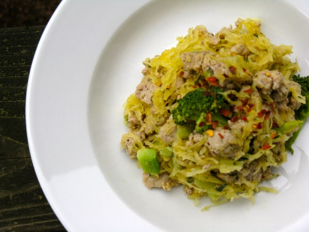 Garlic butter noodles with turkey and broccoli.