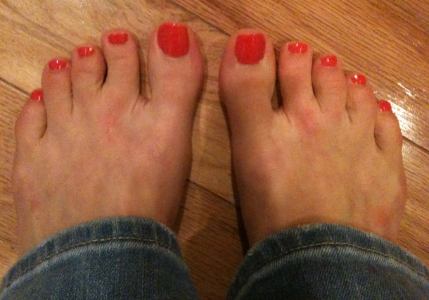 After: pretty coral toes, and smooth, moist feet and lower legs. Don't mind the flip-flop marks on my feet. (Taken on iPhone).