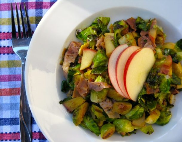 Brussel sprout hash featuring apple, prosciutto, and pecans.