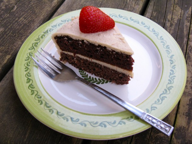 Double-layer chocolate cake with coconut vanilla frosting. A special treat, indeed.