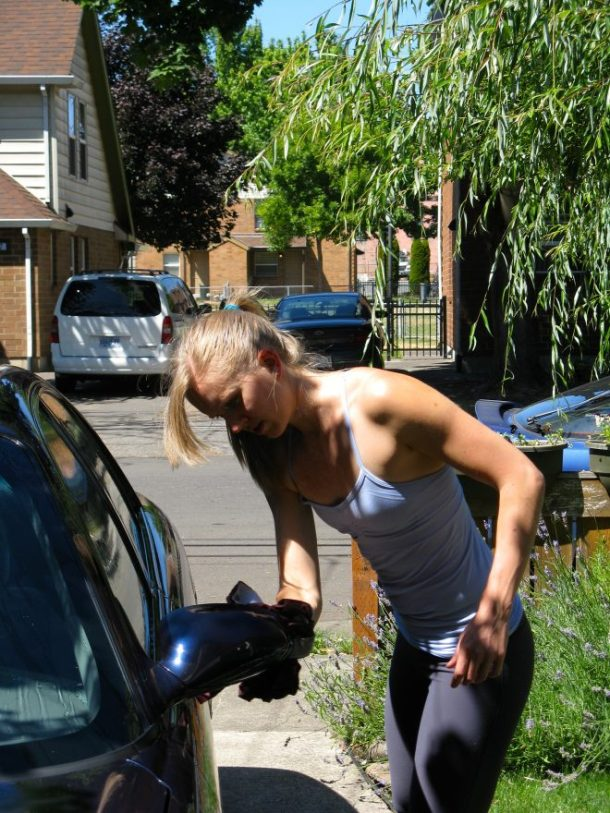 Washing my car (grandma's car) the real way.