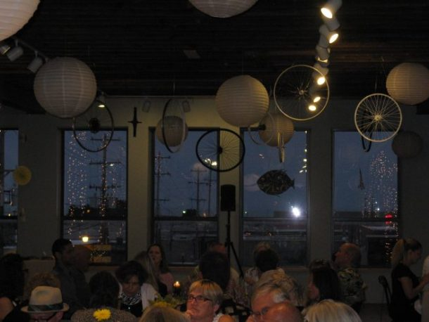 Bike wheels hanging from the ceiling were part of the decor.