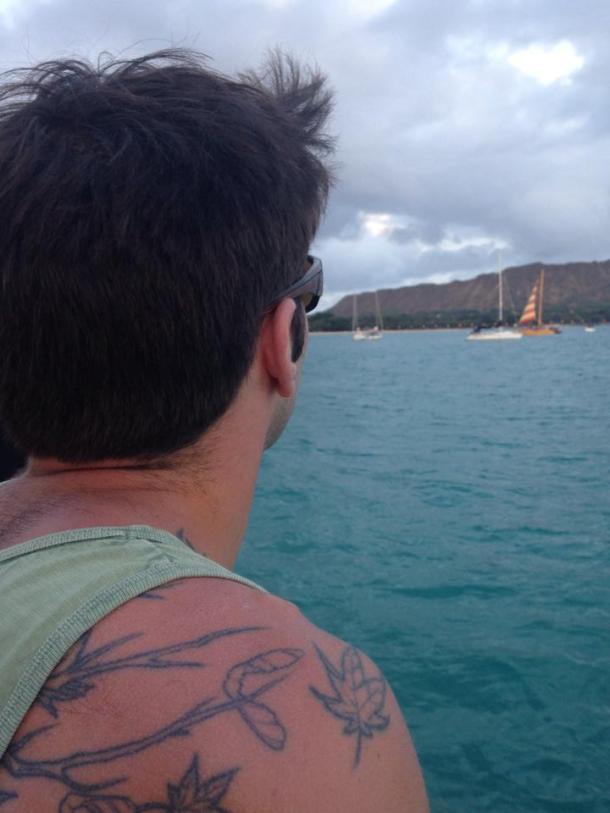 Jesse on our sunset catamaran ride in Honolulu.