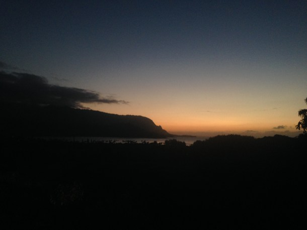 An epic sunset overlooking Hanelai Bay. We pulled over on the side of the road to snap a picture. The photo doesn't do it justice.