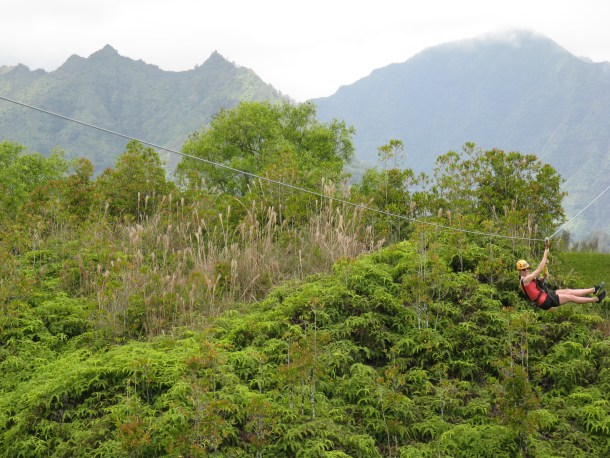One of the 9 zip-lines we went down. So fun!