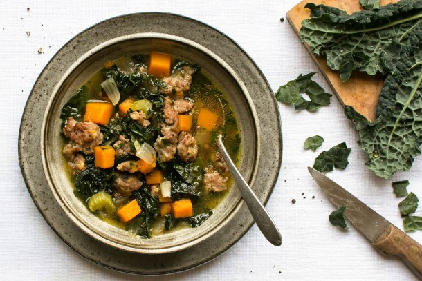 Kale, butternut squash and Italian sausage soup