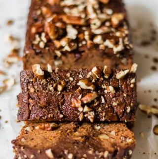 Cinnamon Pecan Sweet Potato Bread with Coconut Sugar Glaze