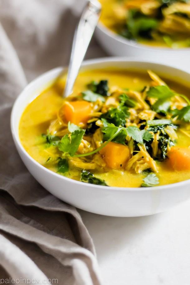 Butternut Squash Curry Chicken Soup
