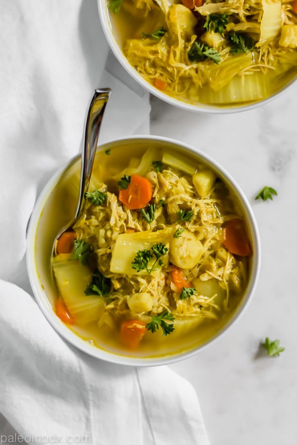 "Spiced chicken, ""rice"" & vegetable soup"