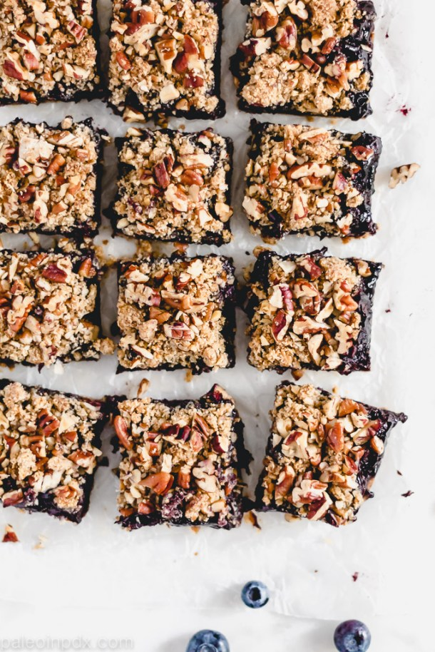 Grain-free blueberry crumble bars