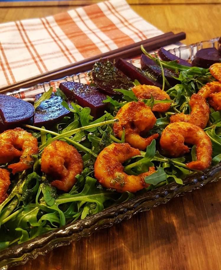 Shrimp and Beetroot Green Salad