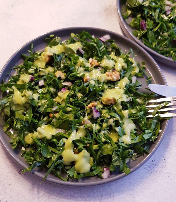 Kale Salad with Walnuts and Creamy Avocado Dressing - Kale salad with avocado, massaged kale salad