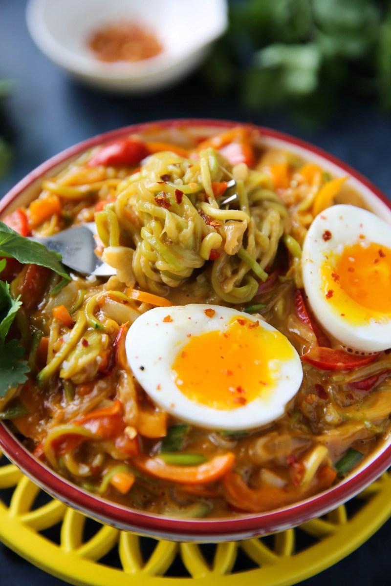 PaleOMG Thai Peanut Zucchini Noodle Bowl