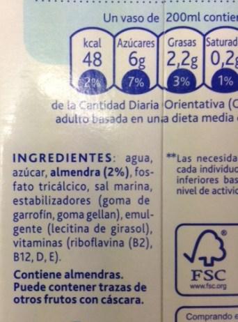 leche de almendras azucar