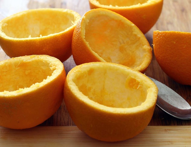 Orange-Maple Sweet Potatoes in Orange Cups recipe from paleonewbie.com - empty orange cups photo