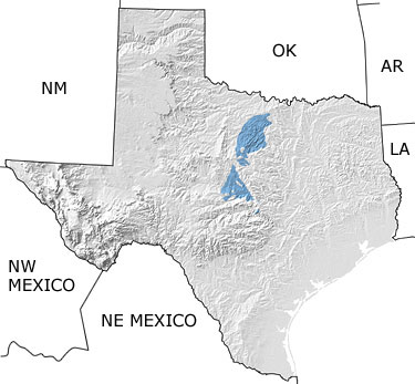 Carboniferous in Texas map