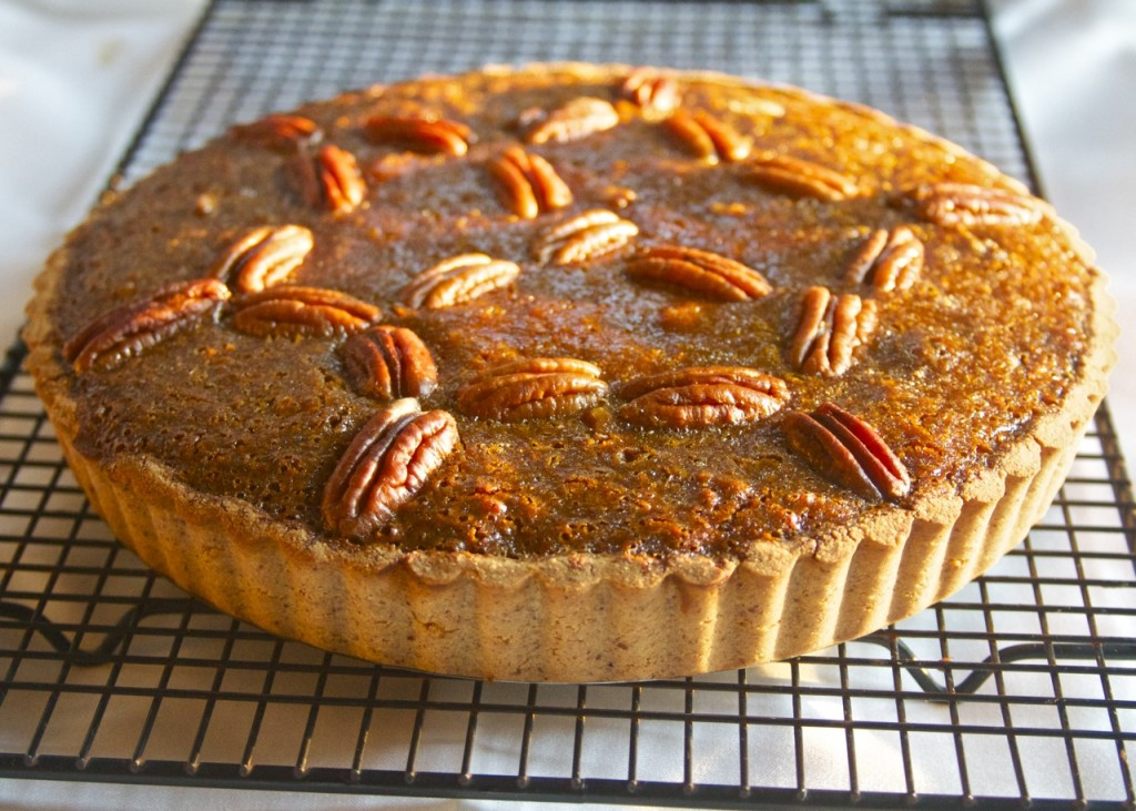 paleo pecan pie on rack
