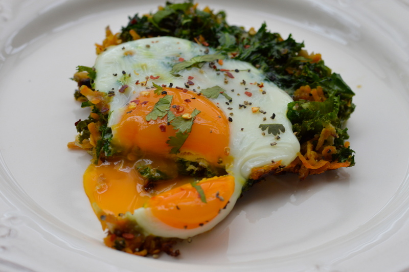 Sweet potato and kale rosti with baked eggs