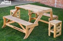 mesa-banco plegable palets ymuebles