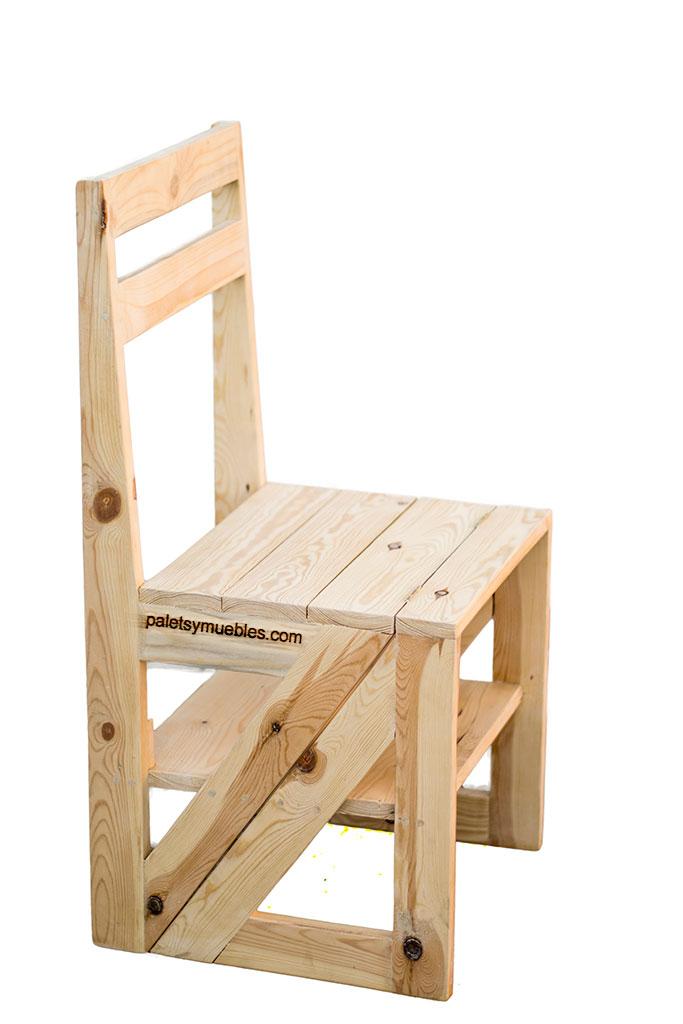 Silla escalera convertible palets y muebles - Sillas con palets ...