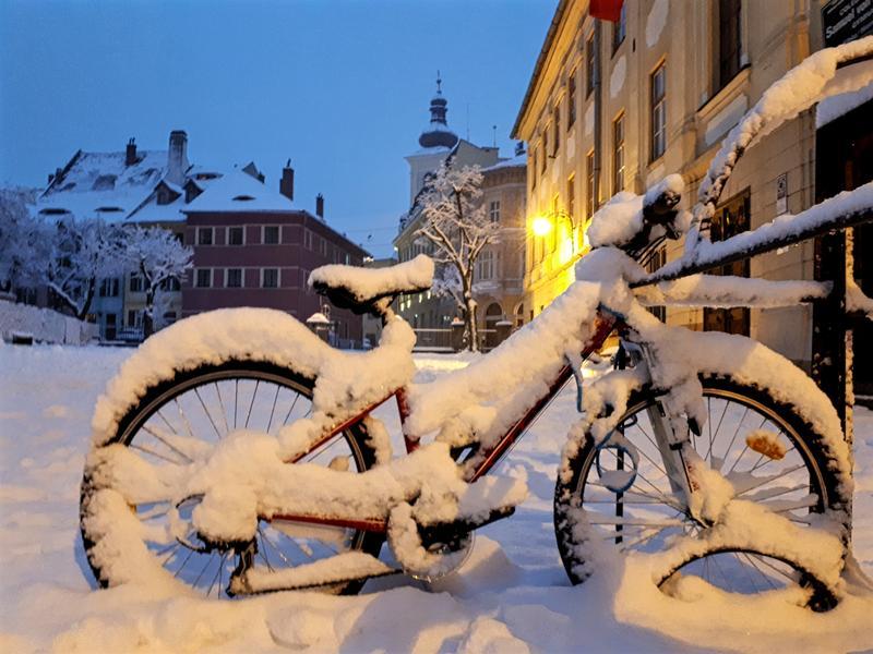 snowy bike trip report sibiu