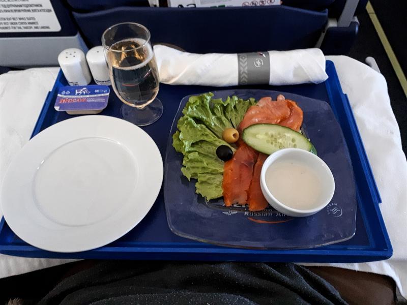 starter food meal irkutsk moscow aeroflot business class flight review