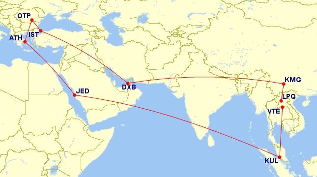 bucharest laos trip otp vte map