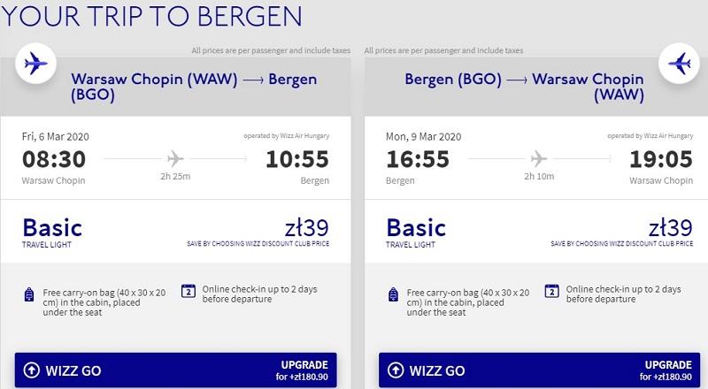 warsaw bergen flight ticket deal
