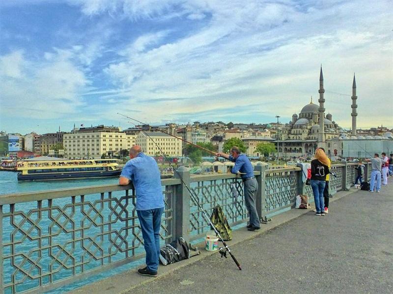 fishing galata bridge istanbul turkey