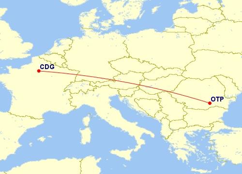 cdg otp flight route map