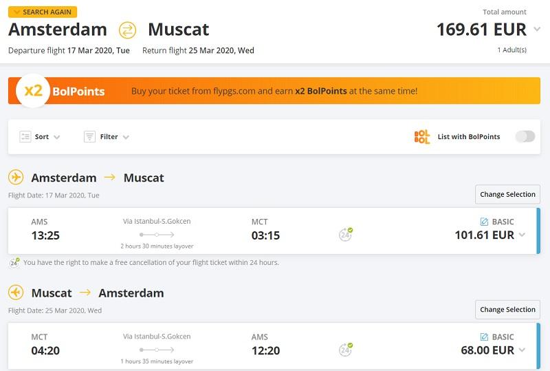 pegasus amsterdam muscat flight