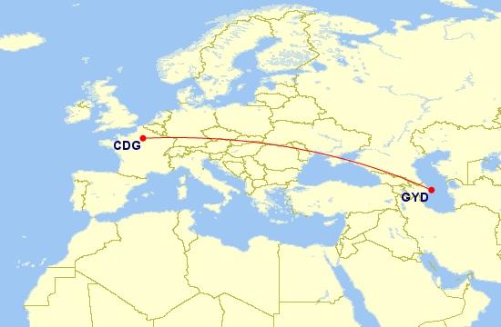 paris baku flight map