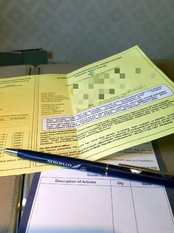 garuda indonesia health card immigration form