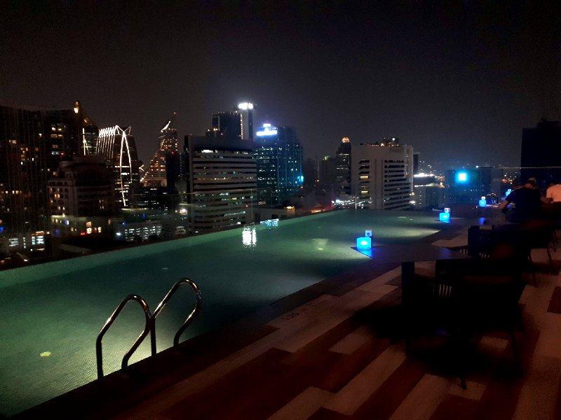 ibis styles rooftop pool night bangkok