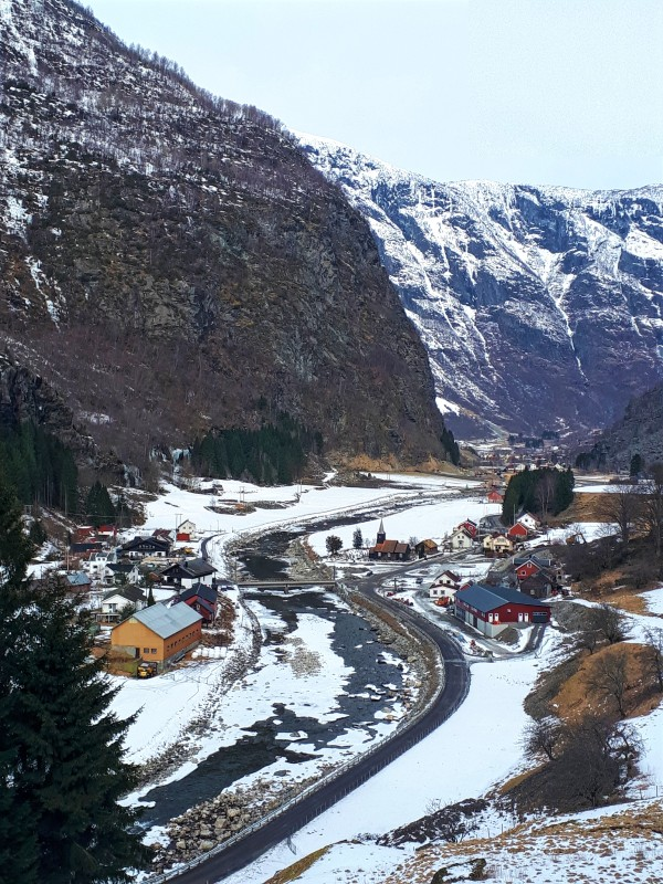 wooden houses valley norway train flamsbana flam