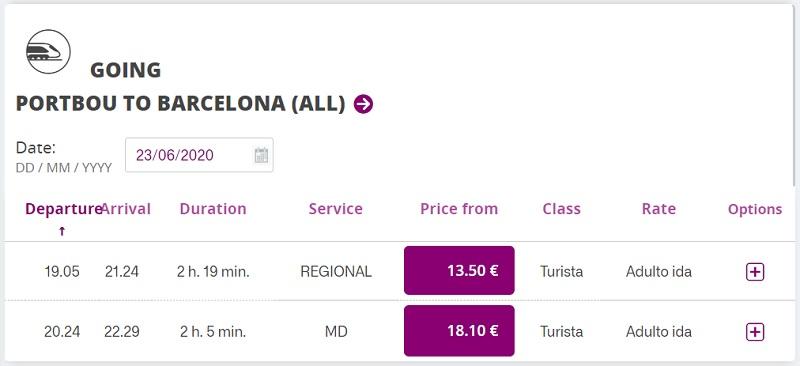 portbou barcelona train